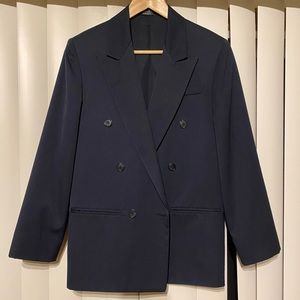 Navy Blue Double Breasted Blazer Men's